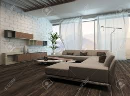 White Curtains In Living Room Picture Of Modern Living Room Interior With White Curtains Stock