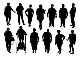 太っている人はシルエットのイラスト