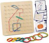 Coogam Wooden Geoboard Mathematical Manipulative Material Array Block Geo Board