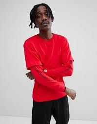 Красная <b>футболка</b>-<b>лонгслив с принтом</b> на рукаве AAPE By A ...