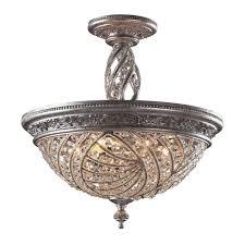 titan lighting renaissance 6 light sunset silver ceiling semi flush mount light