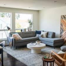 gray modern living room. mid-century modern living room with gray couch m