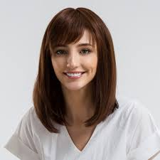 Light Brown Shoulder Length Wig 14 Inch Human Hair Wigs Medium Length Straight Hair Wigs For