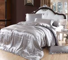silver duvet cover bedding sets grey silk satin super king size queen double ed bed sheets