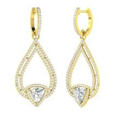triangle cut white topaz and i diamond chandelier earring in 18k yellow gold