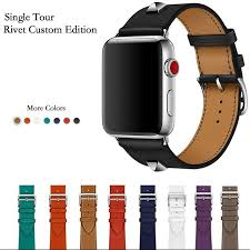 newest genuine leather rivet custom edition single tour watch band strap for herm apple watch series 1 2 3 iwatch 38 42mm rubber watch bands nylon watch