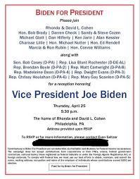 Political Fundraising Invitations Joe Biden Holding Kickoff Fundraiser At Comcast Execs Home