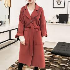2018 new women s modern casual long woolen trench coats with belt keep warm in autumn and winter