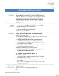 Resume Human Resources Generalist Resume For Study