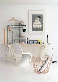 scandinavian home office. Scandinavian Home Office With Desk And Plastic Chair Wall Art