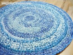 blue rag rug nursery rug kitchen rug handmade rug 3 foot