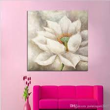 handmade white lotus flower oil painting beautiful wall paintings for bedroom wall decoration canvas art home  on beautiful wall art decor with 2018 handmade white lotus flower oil painting beautiful wall