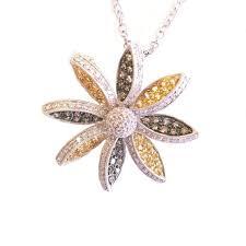 18k white gold diamond flower necklace