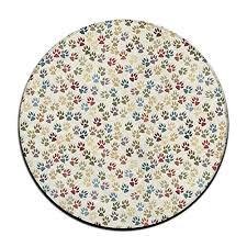 yo ou round area rug colorful dog footprint casual non slip runner floor rug indoor outdoor mats rug pads 23 6 23 6