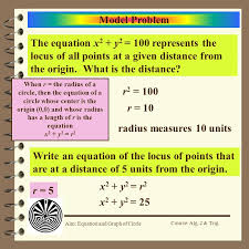 model problem the equation x2 y2 100 represents the locus of all points at