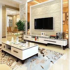 marble coffee table cabinet combination set modern minimalist living room telescopic solid wood tv stand in set made china coffee table