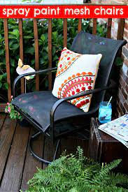 how to spray paint mesh outdoor chairs