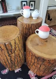 diy tree stump tables knockoffdecor com