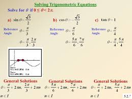 5 2 7 solving trigonometric equations a b c solve for if