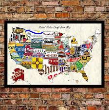 usa craft beer map on brick wall jpg