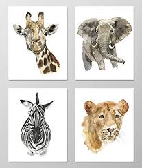 nursery art a002 set of 4 animal art prints 8x10 nursery on jungle animal wall art with amazon nursery art a002 set of 4 animal art prints 8x10