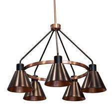 carly 5 light antique brass and black iron metal chandelier