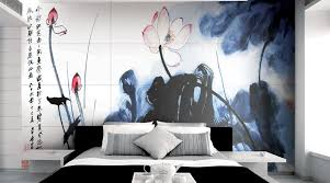 a luxury hotel bedroom featuring ink painting lotus porcel thin art collection porcelain tiles