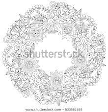 Floral Doodles Wreath Zentangle Style Vector Stock Vector Royalty