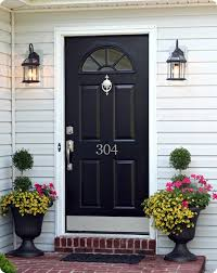 black front door hardware. Curb Appeal: Black Front Door, New Numbers, Urns Of Flowers, Up To Door Hardware C