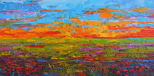 wildflowers painting wildflower field at sunset modern impressionist oil palette knife painting by patricia
