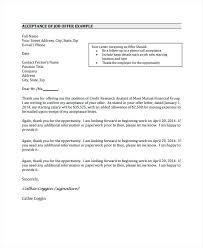 Acceptance Letter For Offer Accept A Job Offer Email Acceptance Letter Example Accepting