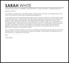 Pet Sitter Cover Letter Pet Sitter Cover Letter Sample Cover Letter Templates Examples