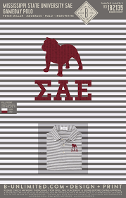 Mississippi State University Embroidery Designs Miss State Sae Gameday Polo Stripe