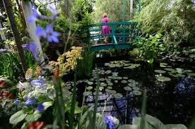 a visitor walks on a replica of french painter claude monet s japanese footbridge at the