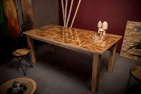 Esstisch Vintage Wooden Squares Design Massivholz Parkett 180 Cm