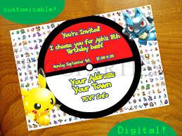 Pokemon Birthday Invitations Pokemon Birthday Invitations With A