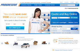 snap shot of progressive insurance website