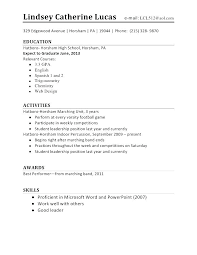 Resume Marvelous Sample For High School Student With No Experience Magnificent Resume For High School Students