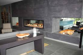 all dark grey living room design with black and glass frame modern fireplace design living