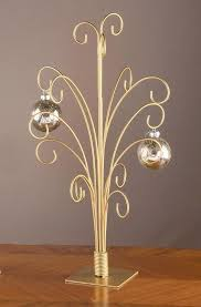 Christmas Ornament Display Stands New 32 GOLD Toned Metal CHRISTMAS ORNAMENT DISPLAY TREE STAND HOLDS 32