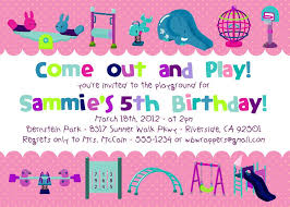 Invitation Words For Birthday Party Playground Themed Birthday Party Invitations Printable