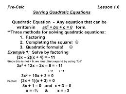 solving quadratic equations