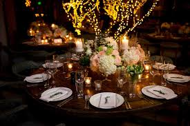 rustic round wood wedding table decor