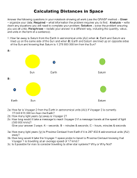 How Long Is 5 Light Years Calculating Distances In Space Problem Worksheet