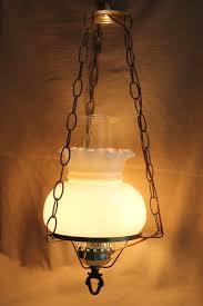 vintage hanging light w hurricane chimney milk glass shade swag lamp chain cord