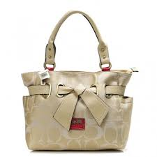 Coach Poppy Bowknot Signature Medium Khaki Totes AND