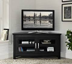 new black 44 nch wde corner tv stand wth glass doors tv stands and