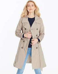 plain fit and flare trench coat
