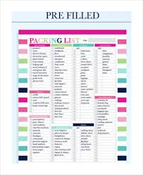 Packing List For Vacation Template Travel Packing List 10 Free Word Pdf Psd Documents