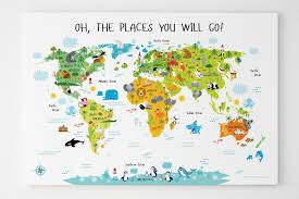 kids world map children s world map canvas unique first birthday gifts nursery canvas on baby nursery wall art australia with world map for kids canvas nursery wall art animal world map